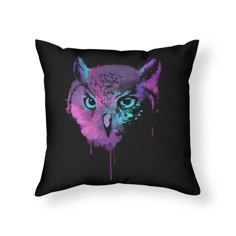 OWL SPLASH Home Throw Pillow by Winterglaze's Artist Shop
