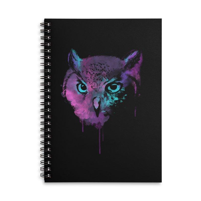 OWL SPLASH Accessories Lined Spiral Notebook by Winterglaze's Artist Shop
