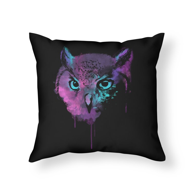 OWL SPLASH Home Throw Pillow by Winterglaze's Artist Shop