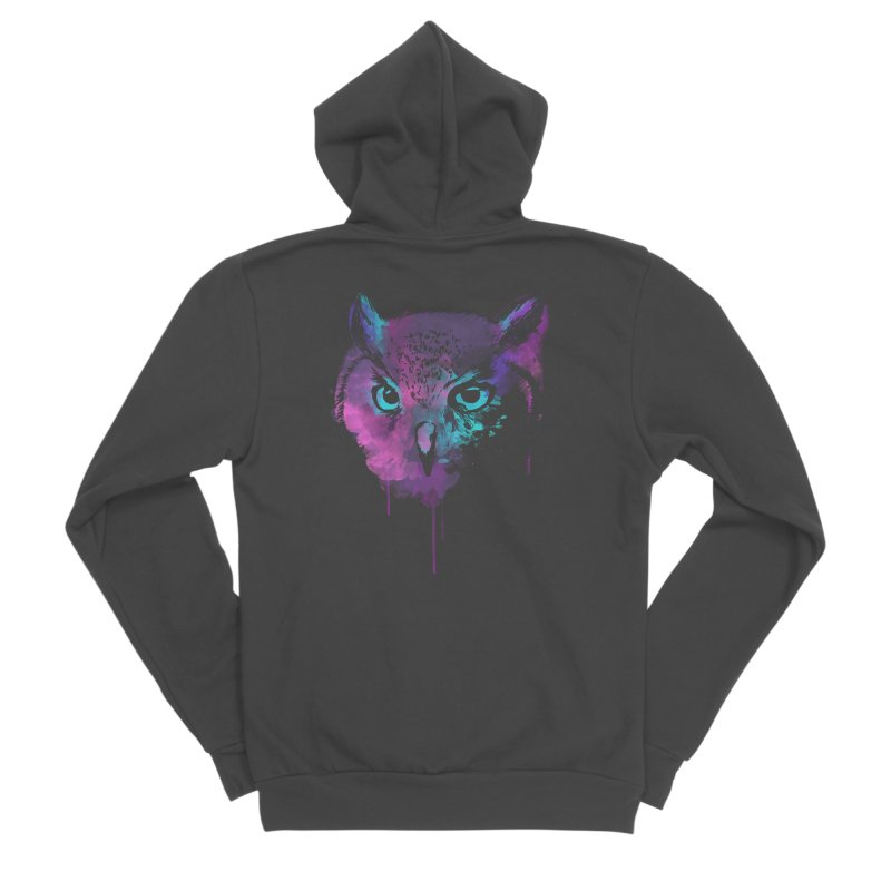 OWL SPLASH Men's Zip-Up Hoody by Winterglaze's Artist Shop
