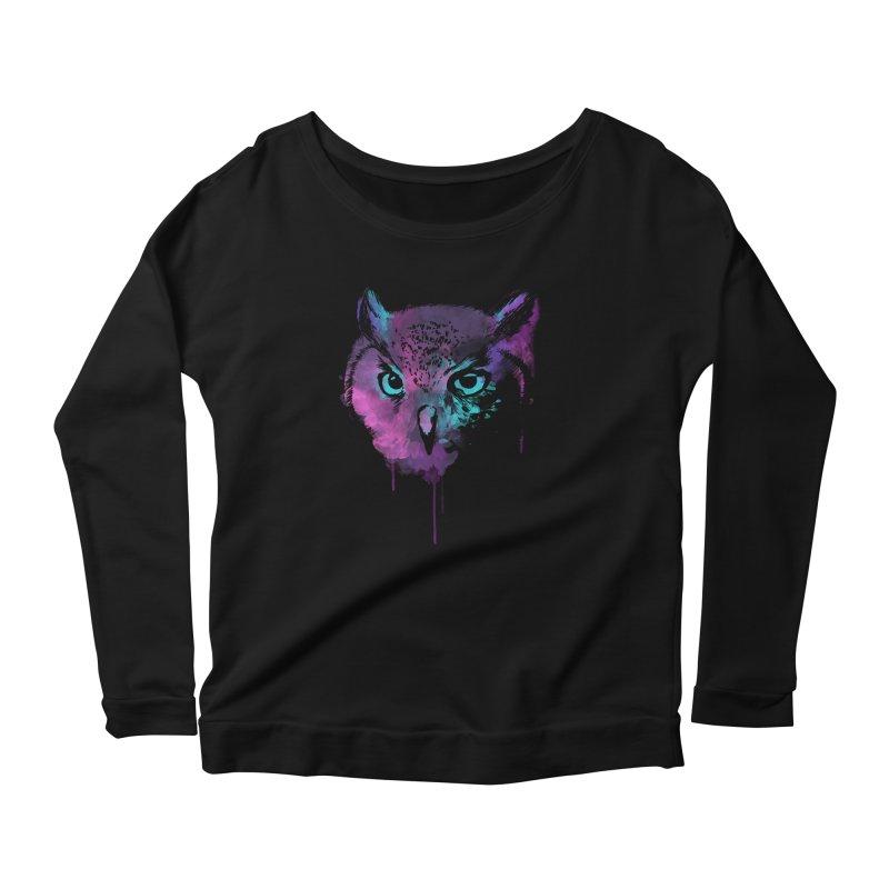 OWL SPLASH Women's Scoop Neck Longsleeve T-Shirt by Winterglaze's Artist Shop