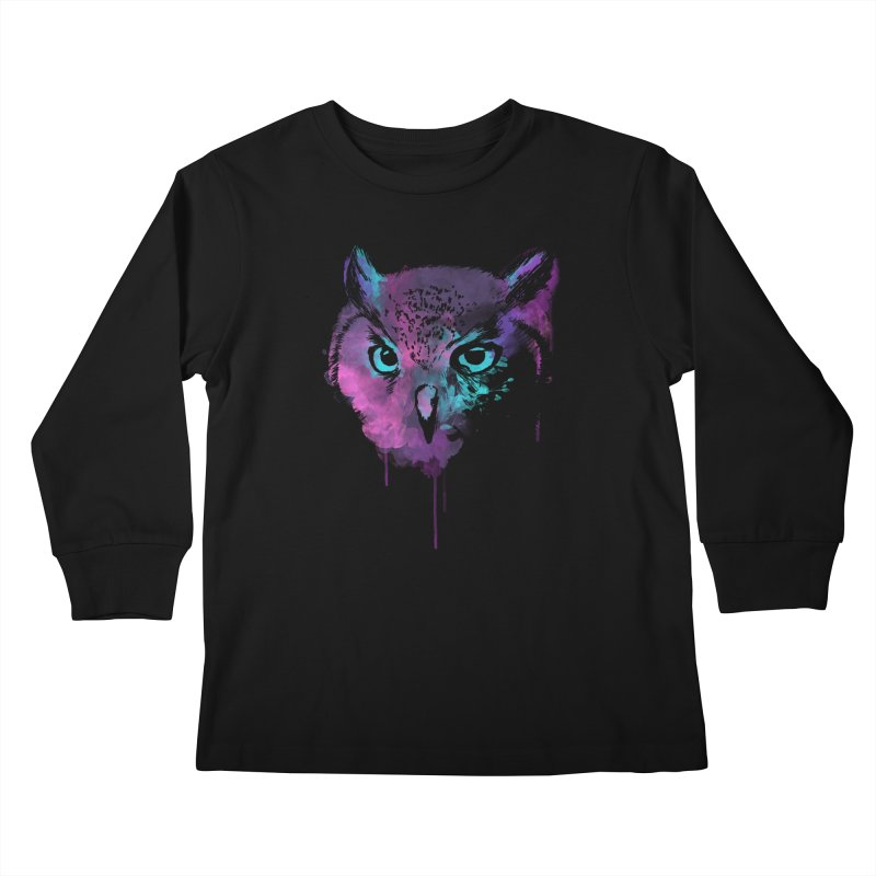 OWL SPLASH Kids Longsleeve T-Shirt by Winterglaze's Artist Shop