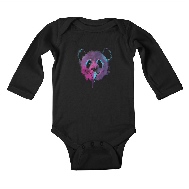 PANDA SPLASH Kids Baby Longsleeve Bodysuit by Winterglaze's Artist Shop
