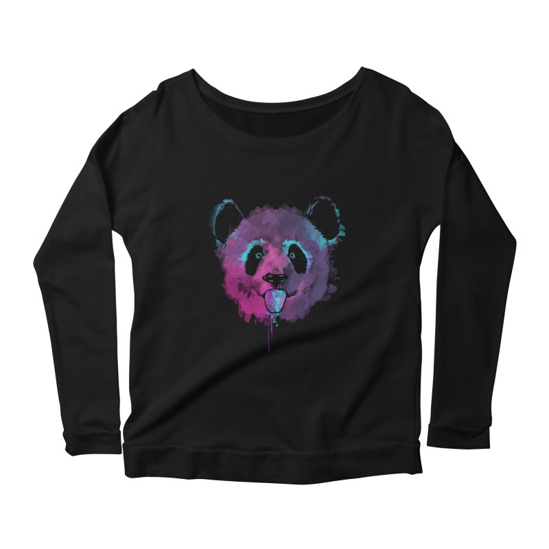 PANDA SPLASH Women's Scoop Neck Longsleeve T-Shirt by Winterglaze's Artist Shop