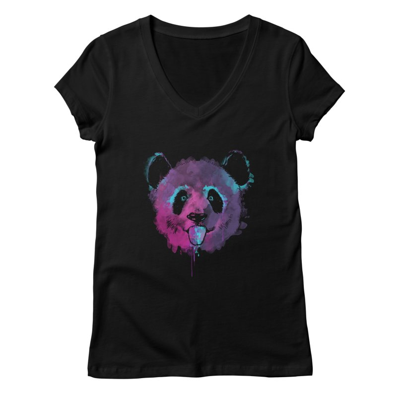PANDA SPLASH Women's Regular V-Neck by Winterglaze's Artist Shop