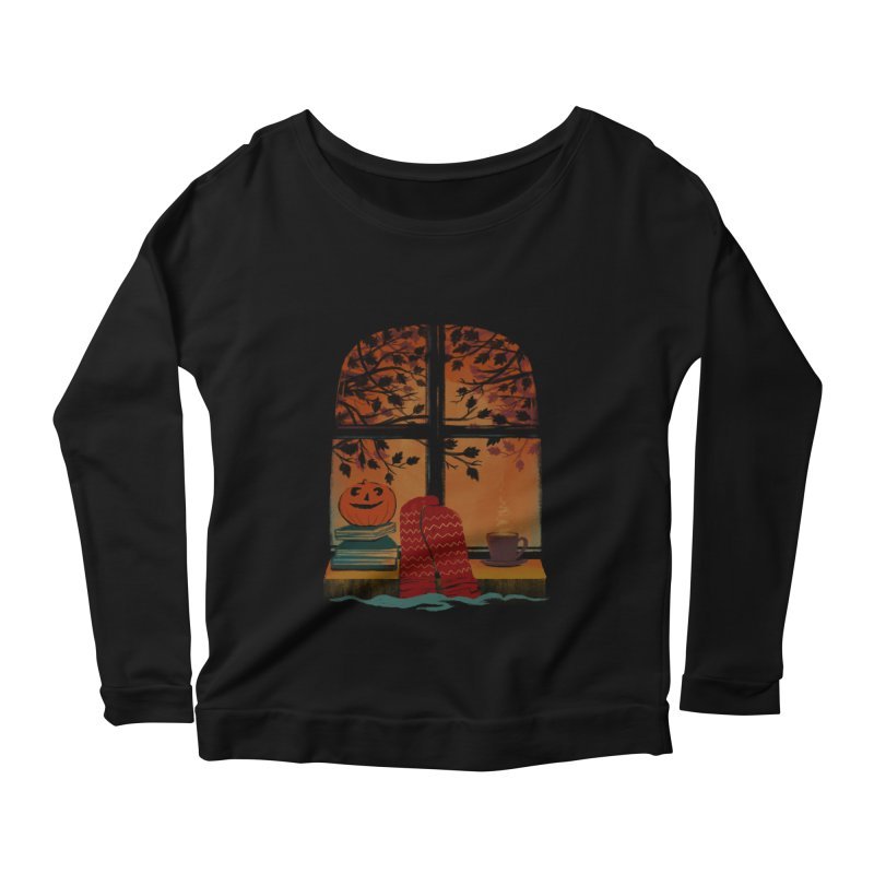 AUTUMN FEELS Women's Scoop Neck Longsleeve T-Shirt by Winterglaze's Artist Shop