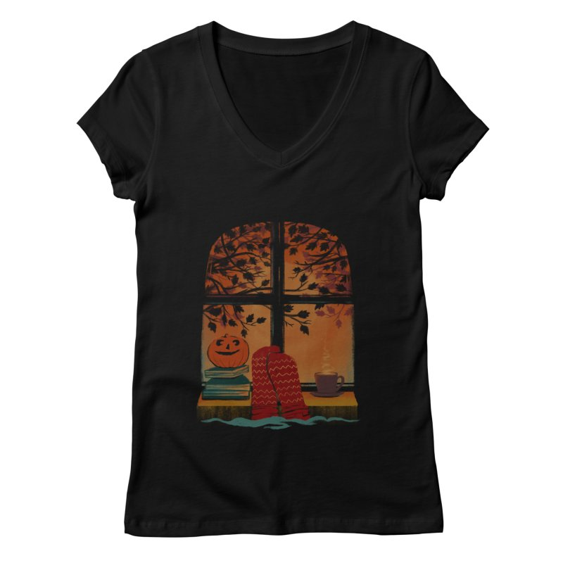 AUTUMN FEELS Women's Regular V-Neck by Winterglaze's Artist Shop