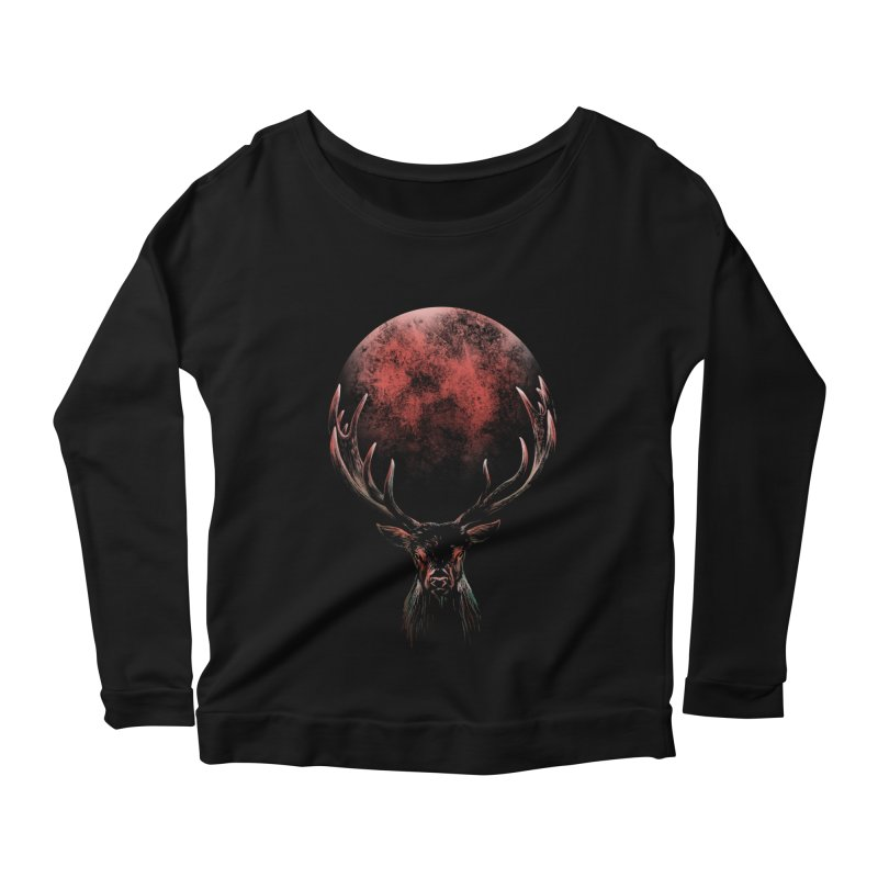 FULL MOON Women's Scoop Neck Longsleeve T-Shirt by Winterglaze's Artist Shop