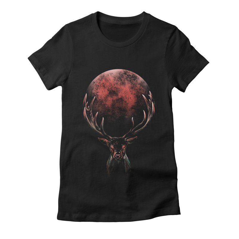 FULL MOON Women's Fitted T-Shirt by Winterglaze's Artist Shop