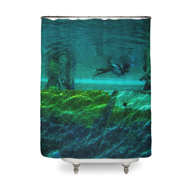 FLOAT SERIES - FINDING HER FINS - COLOR - 1 Home Shower Curtain by WISE FINGER LAB