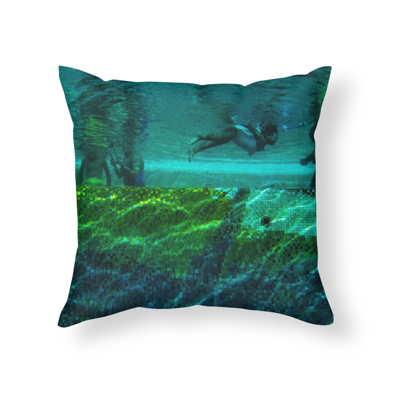 FLOAT SERIES - FINDING HER FINS - COLOR - 1 Home Throw Pillow by WISE FINGER LAB
