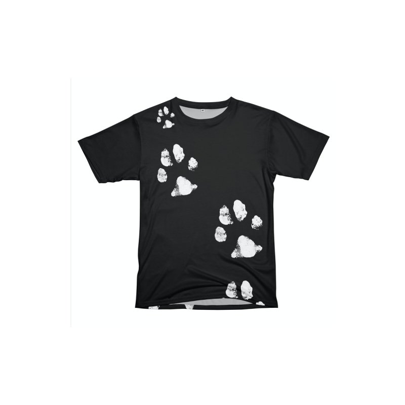 PAW PATH - BLACK AND WHITE Men's Cut & Sew by WISE FINGER LAB