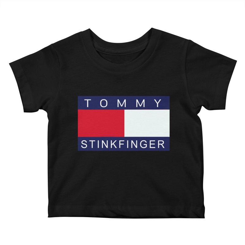 TOMMY STINKFINGER Kids Baby T-Shirt by WISE FINGER LAB