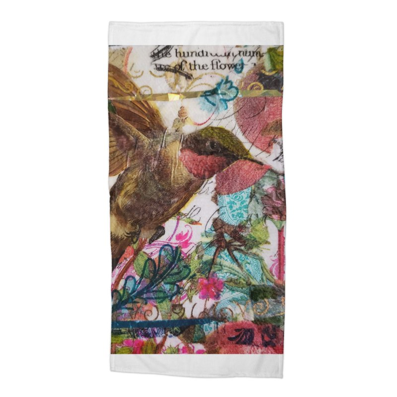 Savor the Moment Hummingbird Original Designer Collage Accessories Beach Towel by Wise Owl Artworks Artist Shop