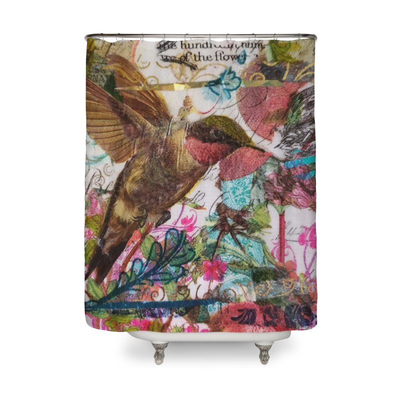 Savor the Moment Hummingbird Original Designer Collage Home Shower Curtain by Wise Owl Artworks Artist Shop
