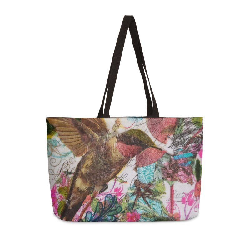 Savor the Moment Hummingbird Original Designer Collage Accessories Weekender Bag Bag by Wise Owl Artworks Artist Shop