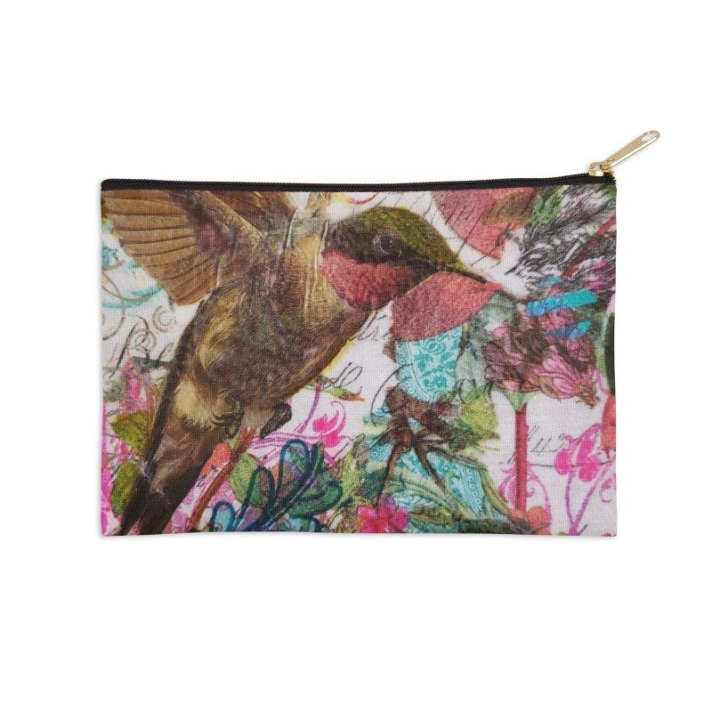 Savor the Moment Hummingbird Original Designer Collage Accessories Zip Pouch by Wise Owl Artworks Artist Shop