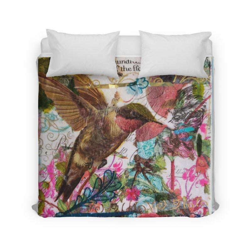 Savor the Moment Hummingbird Original Designer Collage Home Duvet by Wise Owl Artworks Artist Shop