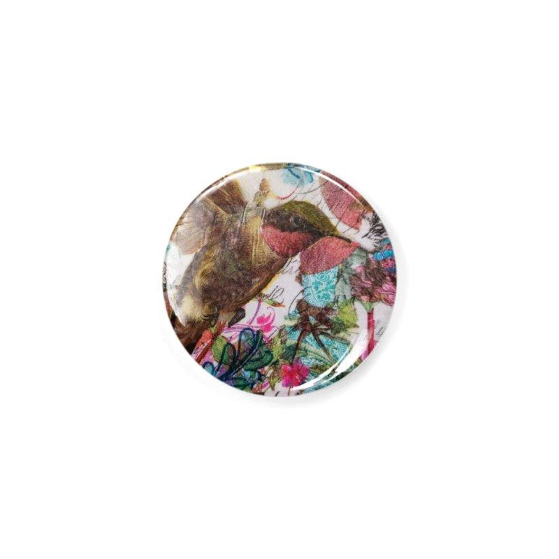 Savor the Moment Hummingbird Original Designer Collage Accessories Button by Wise Owl Artworks Artist Shop