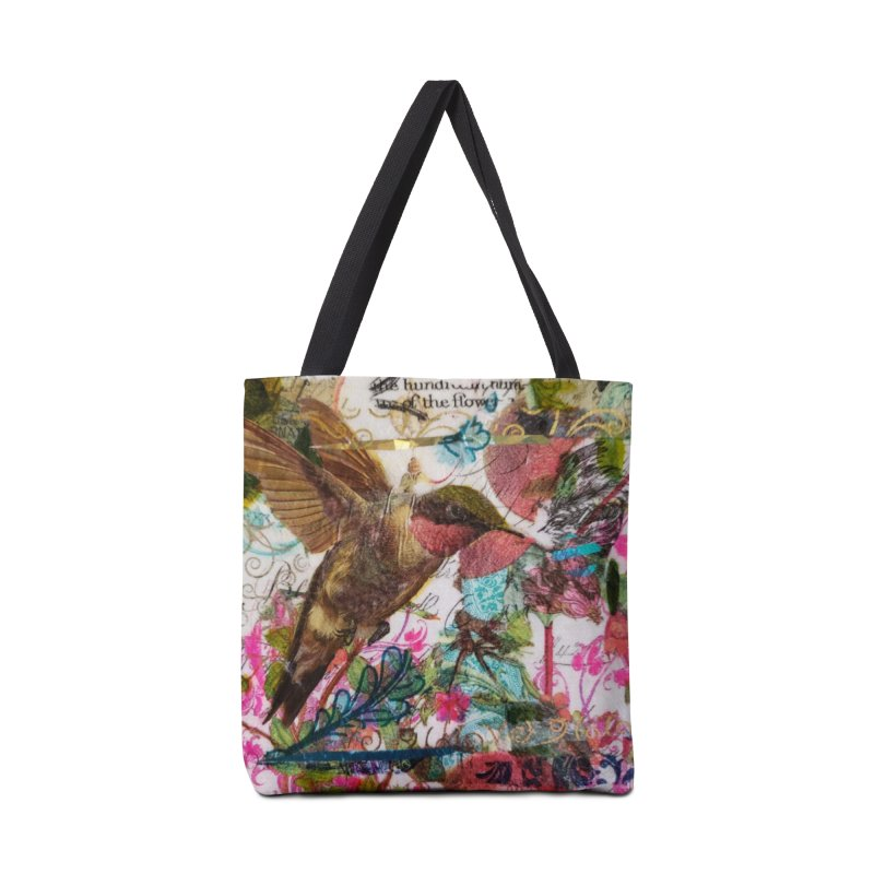 Savor the Moment Hummingbird Original Designer Collage Accessories Tote Bag Bag by Wise Owl Artworks Artist Shop