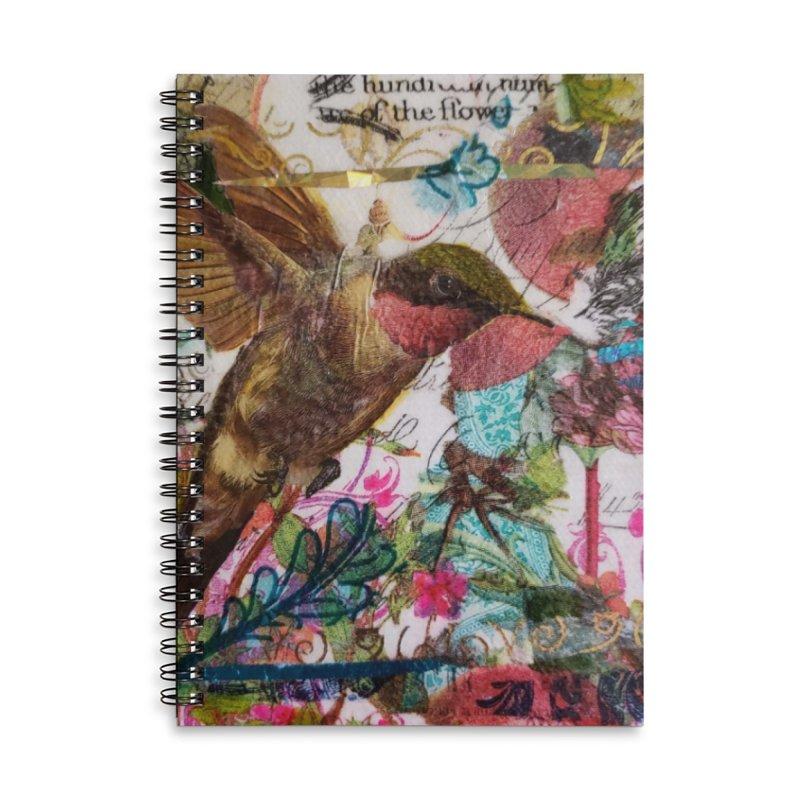 Savor the Moment Hummingbird Original Designer Collage Accessories Lined Spiral Notebook by Wise Owl Artworks Artist Shop