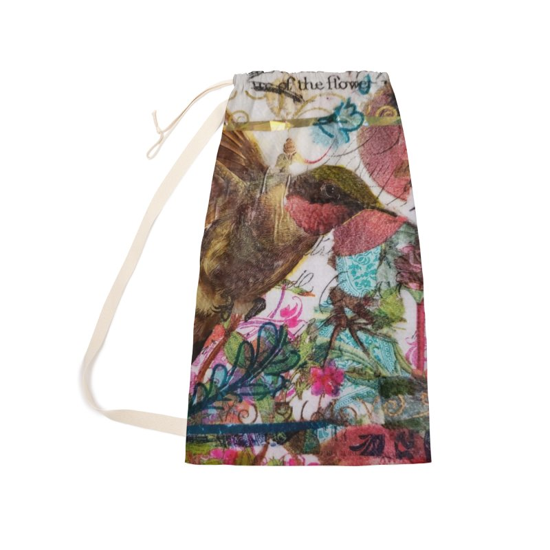 Savor the Moment Hummingbird Original Designer Collage Accessories Laundry Bag Bag by Wise Owl Artworks Artist Shop