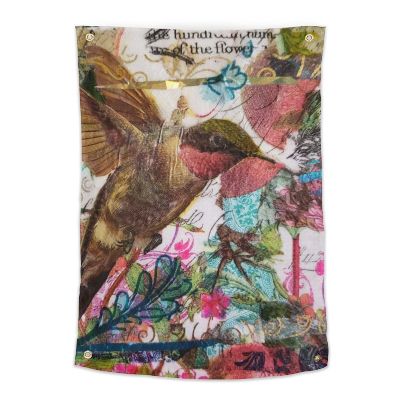 Savor the Moment Hummingbird Original Designer Collage Home Tapestry by Wise Owl Artworks Artist Shop