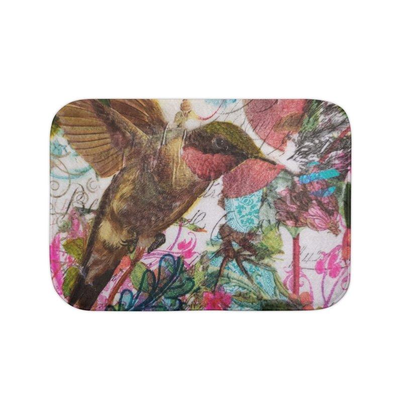 Savor the Moment Hummingbird Original Designer Collage Home Bath Mat by Wise Owl Artworks Artist Shop