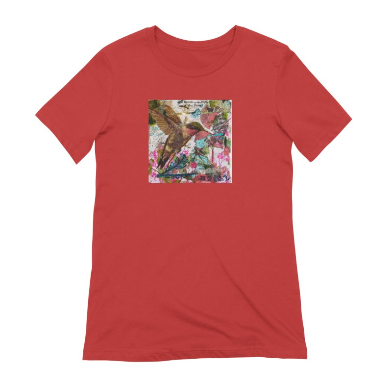 Savor the Moment Hummingbird Original Designer Collage Women's Extra Soft T-Shirt by Wise Owl Artworks Artist Shop