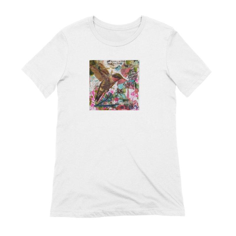 Savor the Moment Hummingbird Original Designer Collage Women's Extra Soft T-Shirt by Wise Owl Artworks Artist Shop