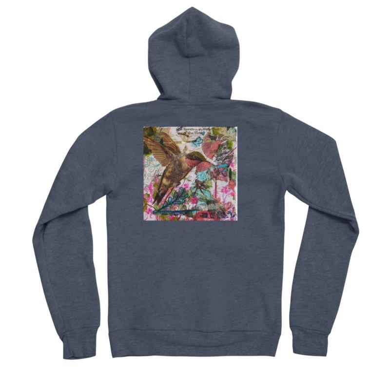 Savor the Moment Hummingbird Original Designer Collage Women's Sponge Fleece Zip-Up Hoody by Wise Owl Artworks Artist Shop