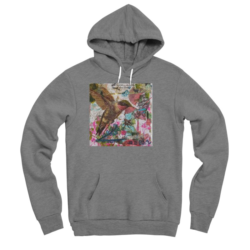 Savor the Moment Hummingbird Original Designer Collage Women's Sponge Fleece Pullover Hoody by Wise Owl Artworks Artist Shop