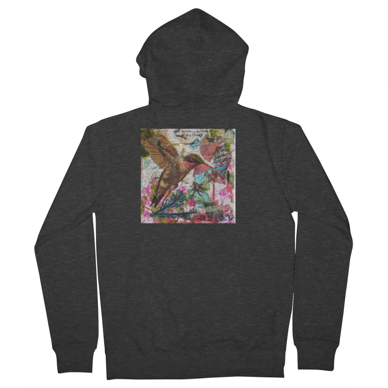 Savor the Moment Hummingbird Original Designer Collage Women's French Terry Zip-Up Hoody by Wise Owl Artworks Artist Shop