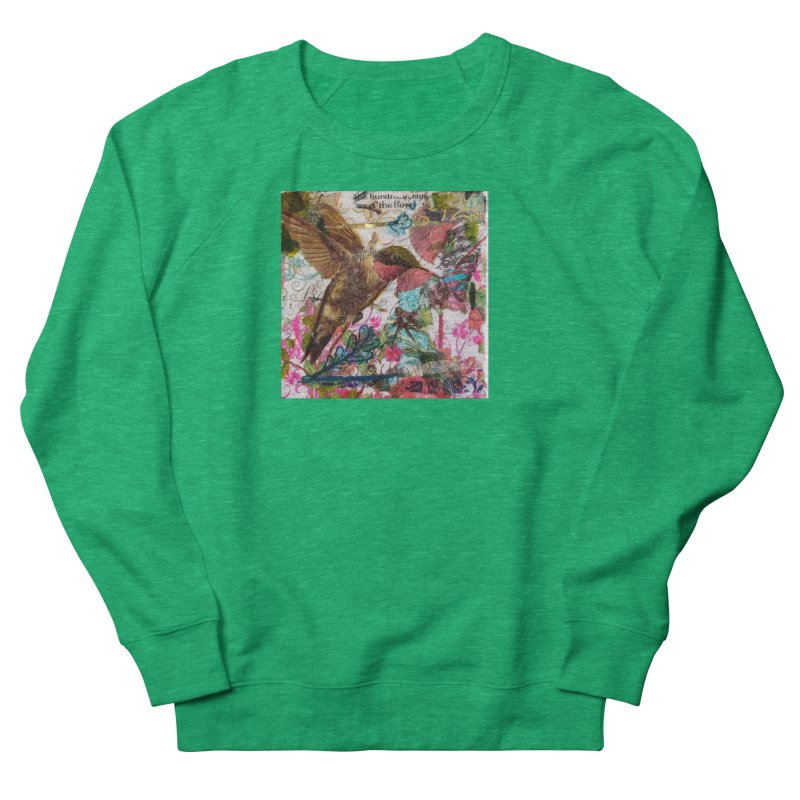 Savor the Moment Hummingbird Original Designer Collage Women's Sweatshirt by Wise Owl Artworks Artist Shop