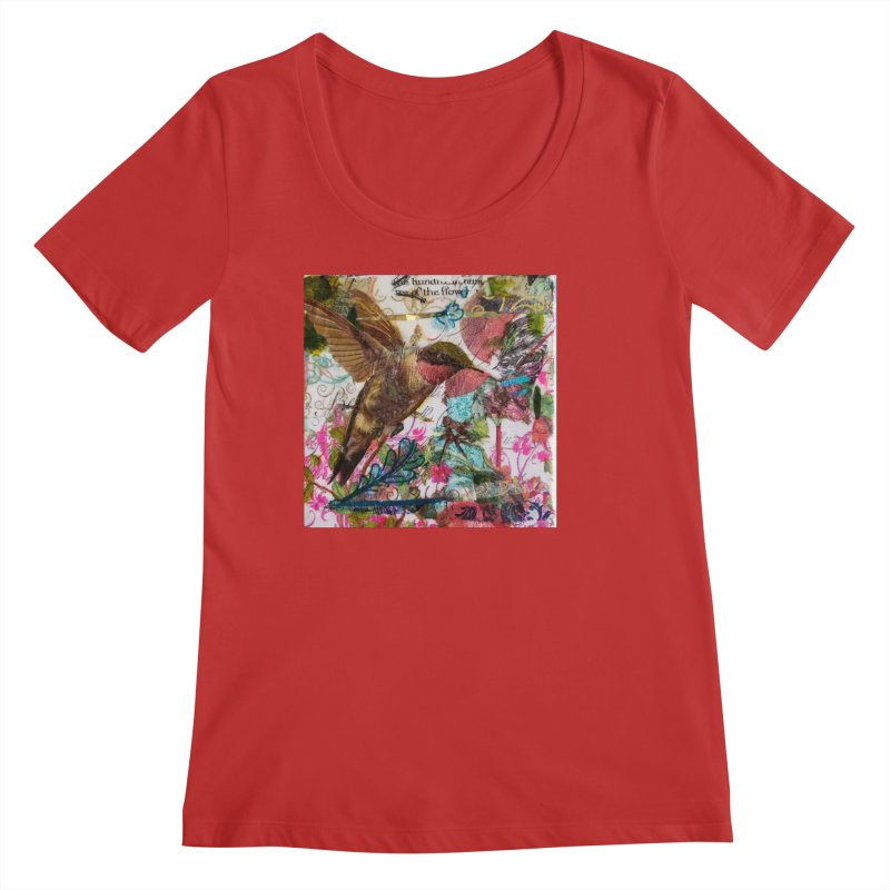 Savor the Moment Hummingbird Original Designer Collage Women's Regular Scoop Neck by Wise Owl Artworks Artist Shop