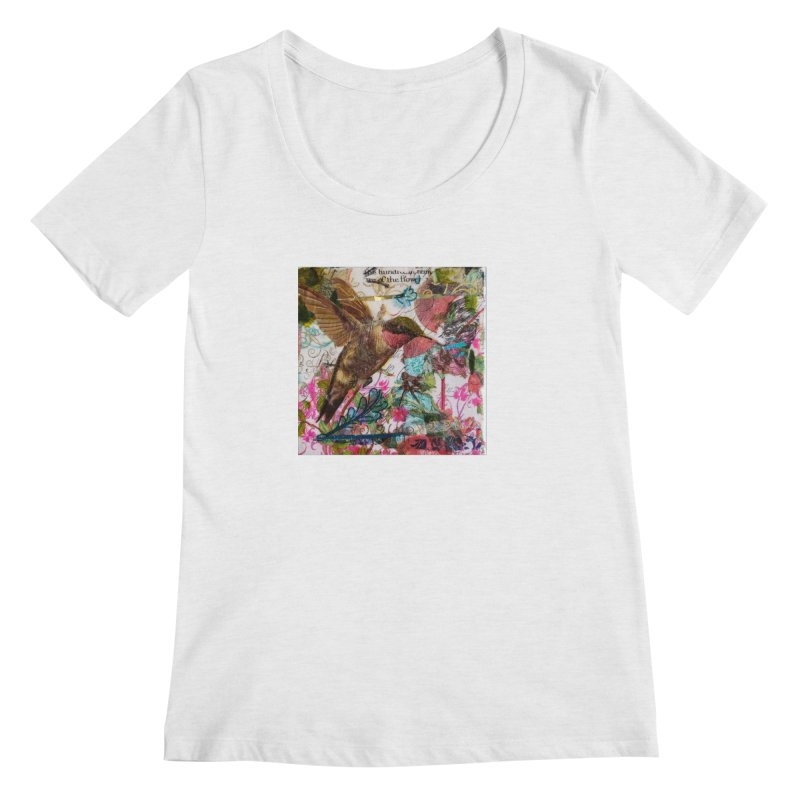Savor the Moment Hummingbird Original Designer Collage Women's Scoop Neck by Wise Owl Artworks Artist Shop