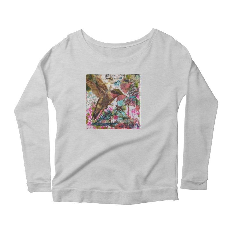 Savor the Moment Hummingbird Original Designer Collage Women's Scoop Neck Longsleeve T-Shirt by Wise Owl Artworks Artist Shop