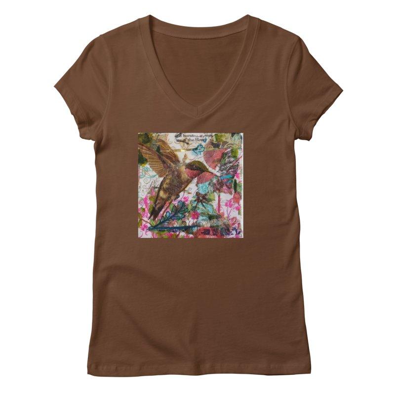 Savor the Moment Hummingbird Original Designer Collage Women's Regular V-Neck by Wise Owl Artworks Artist Shop