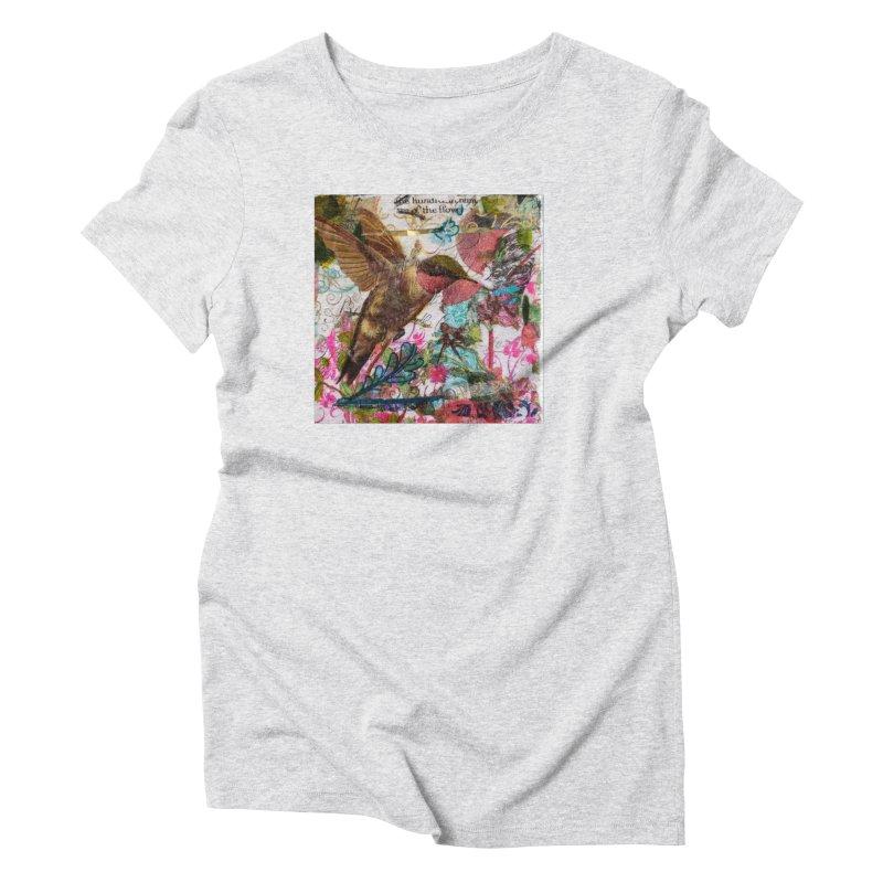Savor the Moment Hummingbird Original Designer Collage Women's T-Shirt by Wise Owl Artworks Artist Shop
