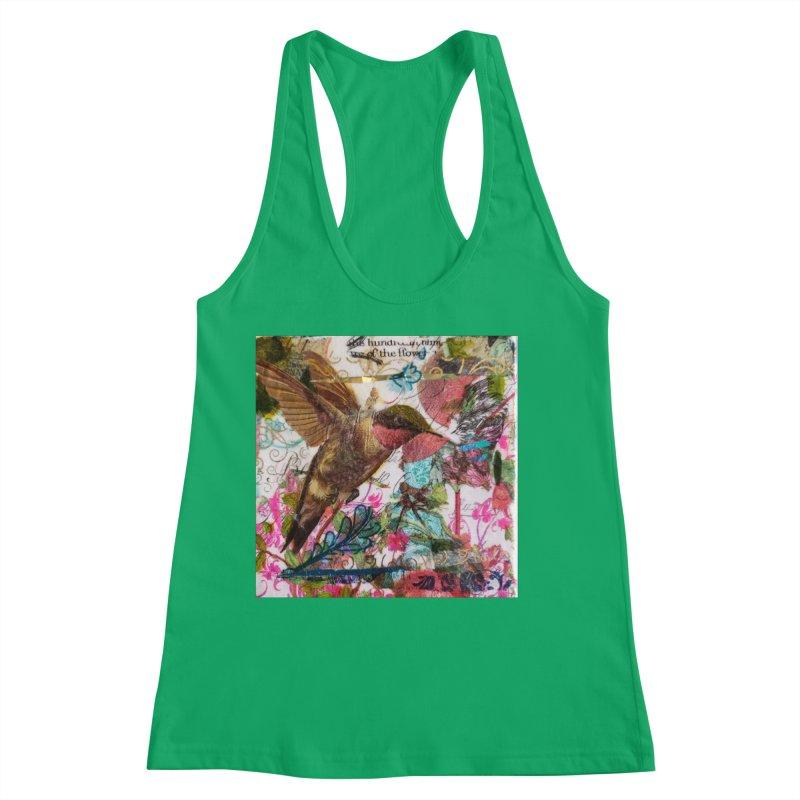 Savor the Moment Hummingbird Original Designer Collage Women's Tank by Wise Owl Artworks Artist Shop