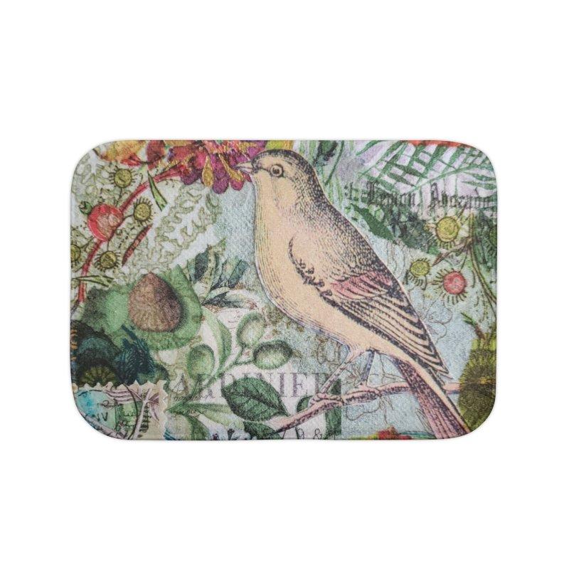 Botanical Songbird Original Designer Collage Home Bath Mat by Wise Owl Artworks Artist Shop