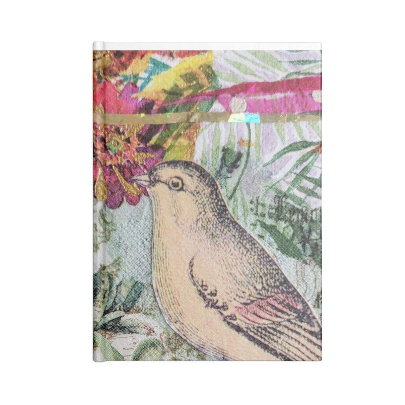 Botanical Songbird Original Designer Collage Accessories Blank Journal Notebook by Wise Owl Artworks Artist Shop