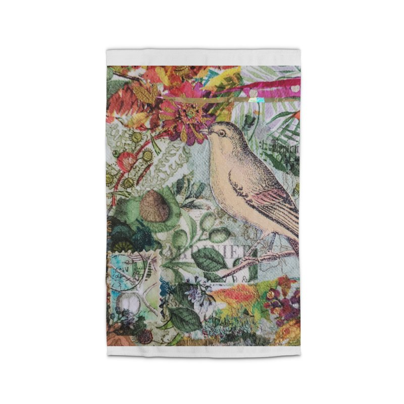 Botanical Songbird Original Designer Collage Home Rug by Wise Owl Artworks Artist Shop