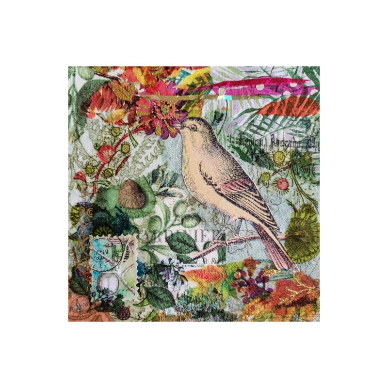 Botanical Songbird Original Designer Collage Accessories Sticker by Wise Owl Artworks Artist Shop