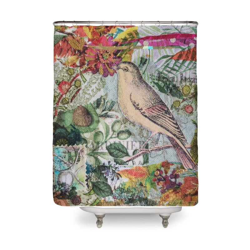 Botanical Songbird Original Designer Collage Home Shower Curtain by Wise Owl Artworks Artist Shop