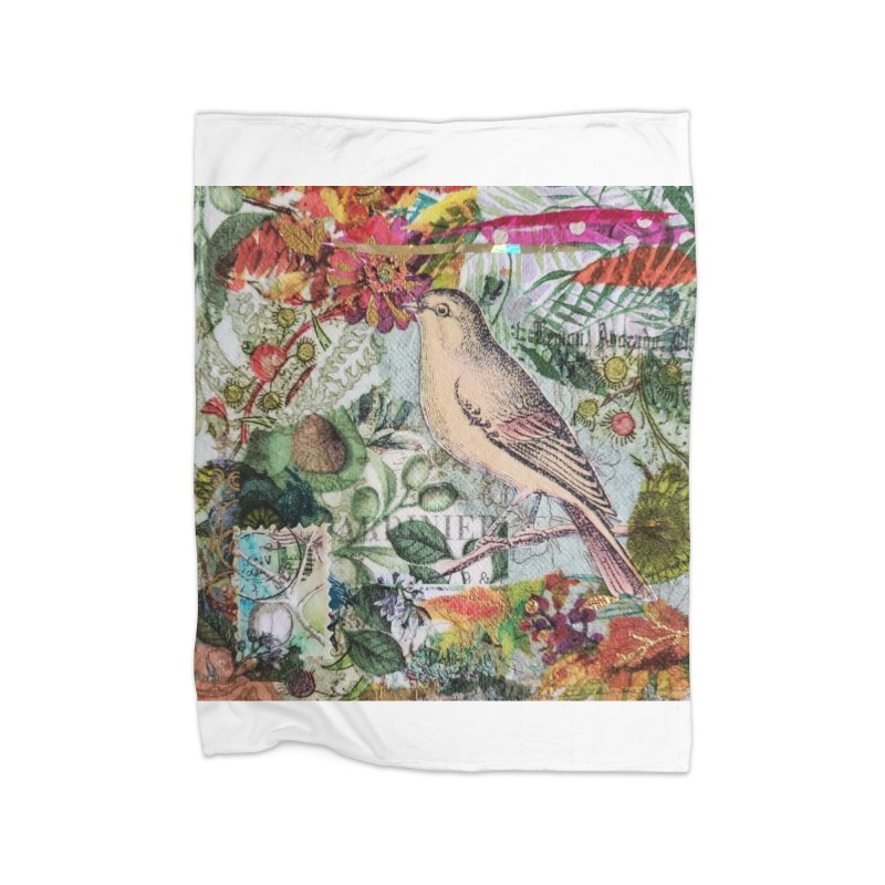 Botanical Songbird Original Designer Collage Home Fleece Blanket Blanket by Wise Owl Artworks Artist Shop