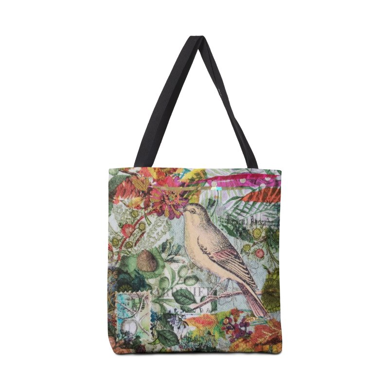 Botanical Songbird Original Designer Collage Accessories Tote Bag Bag by Wise Owl Artworks Artist Shop