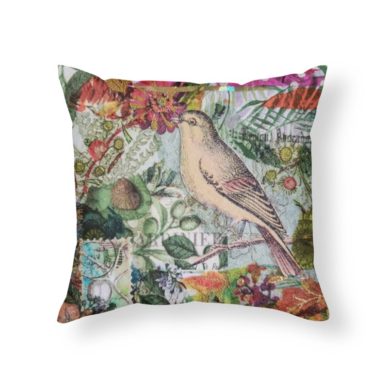 Botanical Songbird Original Designer Collage Home Throw Pillow by Wise Owl Artworks Artist Shop