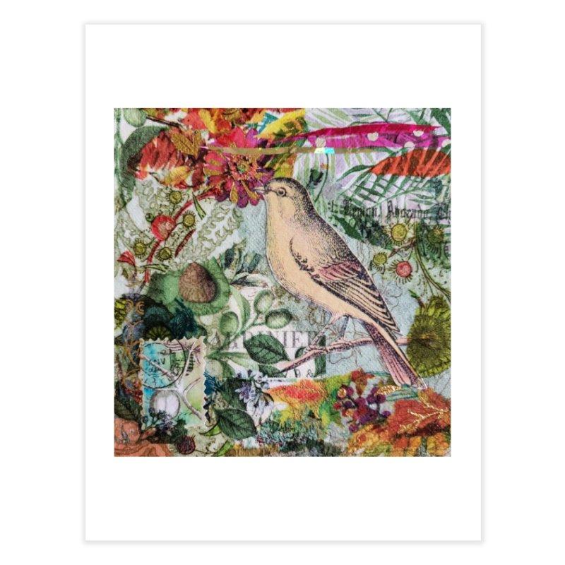 Botanical Songbird Original Designer Collage Home Fine Art Print by Wise Owl Artworks Artist Shop