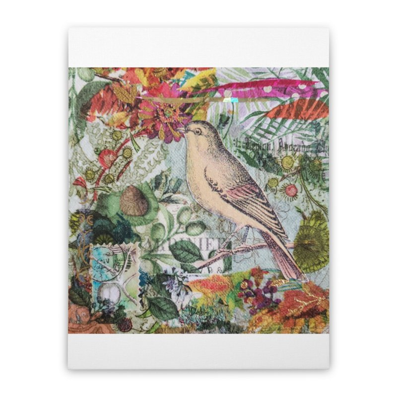 Botanical Songbird Original Designer Collage Home Stretched Canvas by Wise Owl Artworks Artist Shop